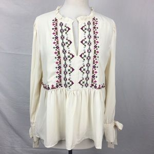 Ann Taylor Cream Embroidered Babydoll Blouse